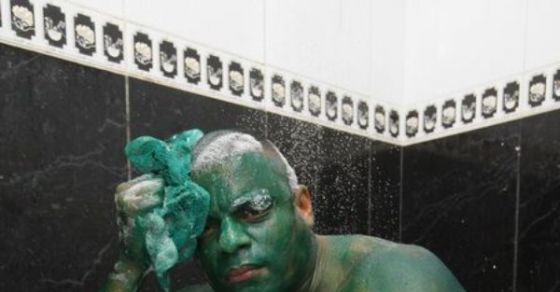 Man Paints Himself As The Incredible Hulk But Finds Out He Failed Horribly When The Paint Won't Wash Off.