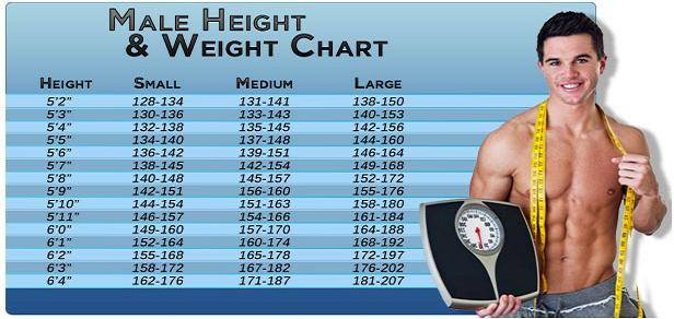 The Ideal Weight Chart For Men Based On Their Height Thedailybuzz