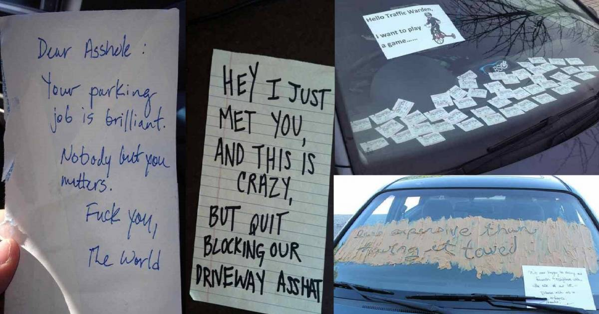 25 Of The Most Hilarious Parking Notes Left For Terrible Drivers