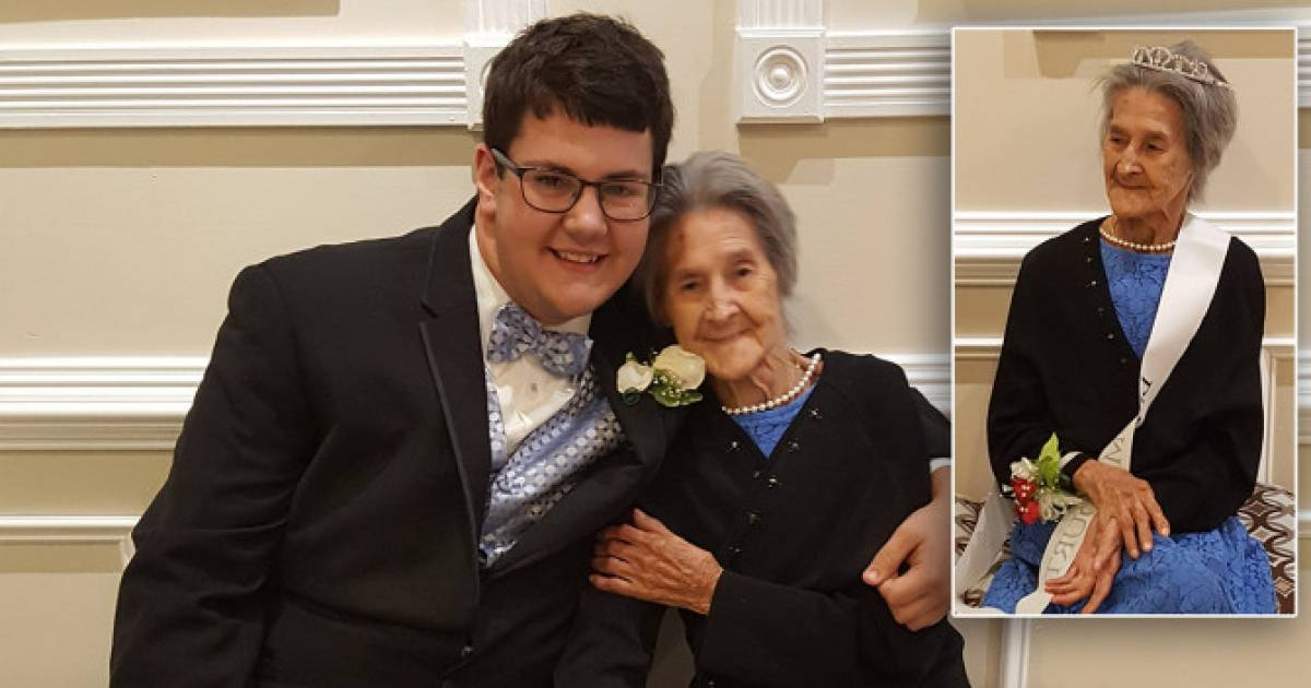 After Grandson Brings Her As His Date, 91-Year-Old Grandma Poses In Tiara And Sash For Prom Photo