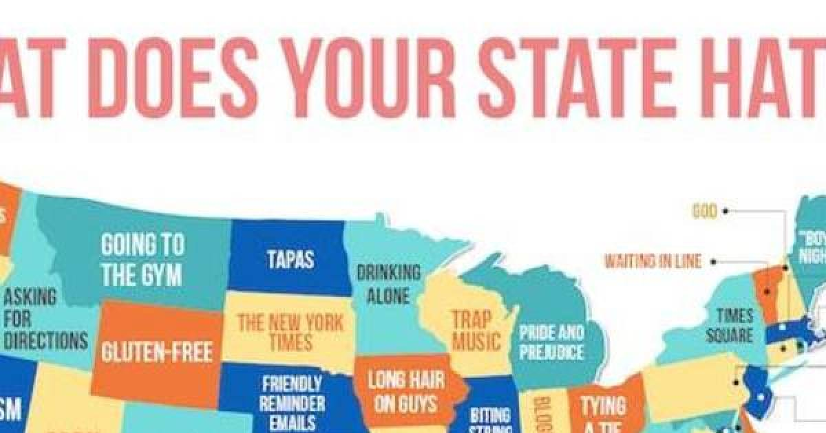 In Order To Find You A Date, This Map Will Show You Which Topic Each State Hates The Most.