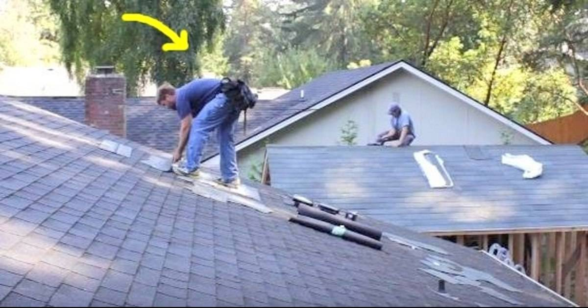 Men Work On Roof When Man In Blue's Song Comes On. He Busts A Move That Has Internet In Stitches