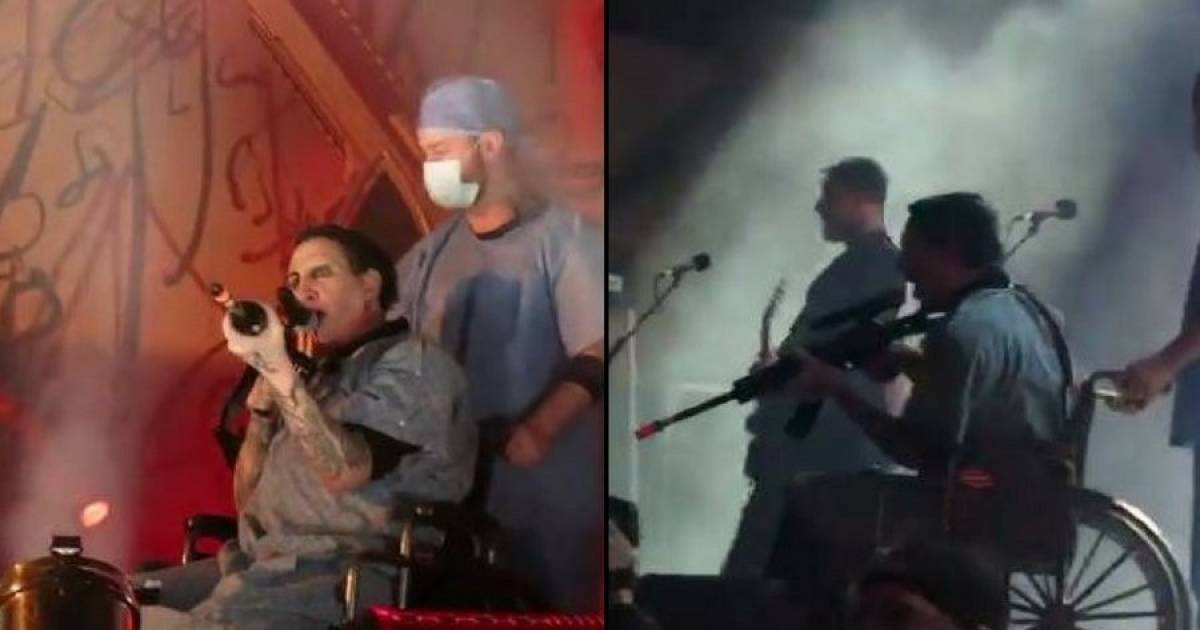 Shock Rock Star Marilyn Manson Aims Fake Gun At Crowd In A City Where A Mass Shooting Occurred.