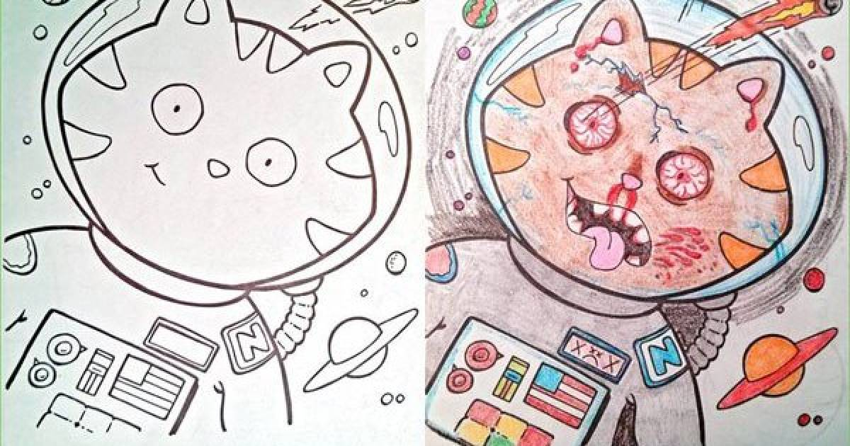 With Just A Little Creativity Anyone Can Take A Harmless Children's Coloring Book And Turn It Into The Stuff Of Nightmares