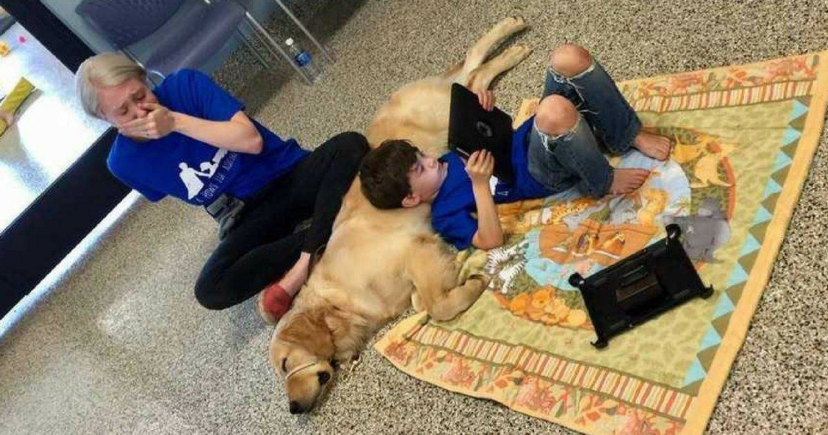 Mom Posts A Tearful Picture Of Autistic Son With His Service Dog On Social Media With An Emotional Note