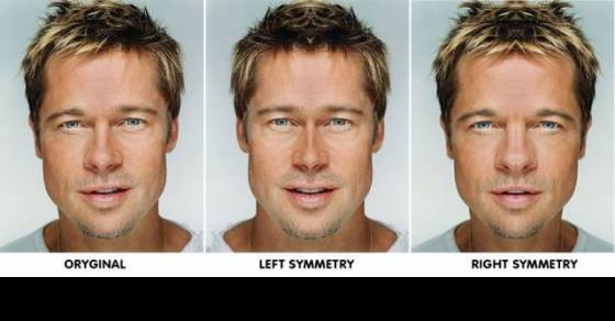 Photo-shopped faces of celebrities that shows that perfect symmetry just doesn't look good.