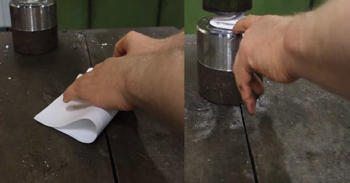 They Try To Fold Paper More Than Seven Times With Hydraulic Press, What Happens Next Will Blow Your Mind
