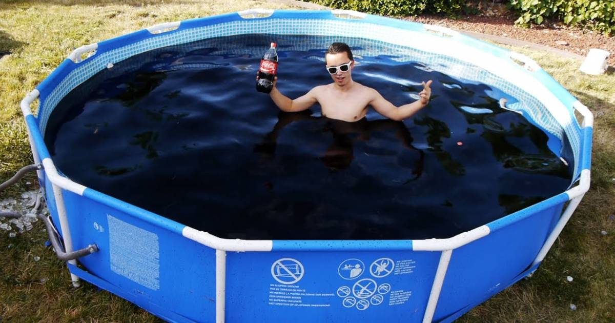 He Took A Bath In A Giant Coca-Cola Pool And Filled It With Mentos.
