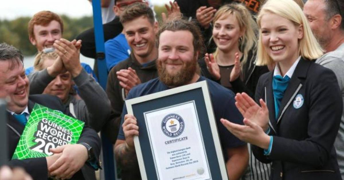Thrill Seeker Claims Guinness World Record Dunking Biscuit In Tea From 230ft Bungee Jump