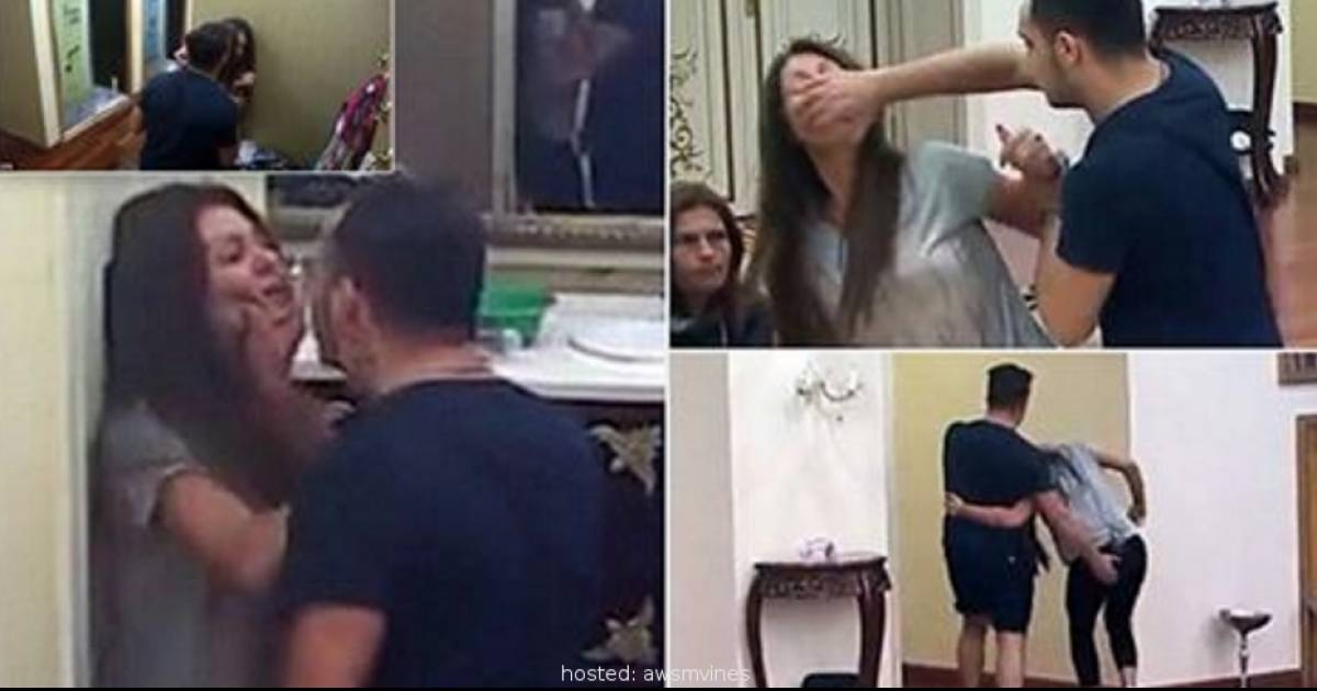 Astonishing Moment A Husband Beats Up His Wife And Throttles Her During Live Broadcast Of Reality TV Show In Serbia!