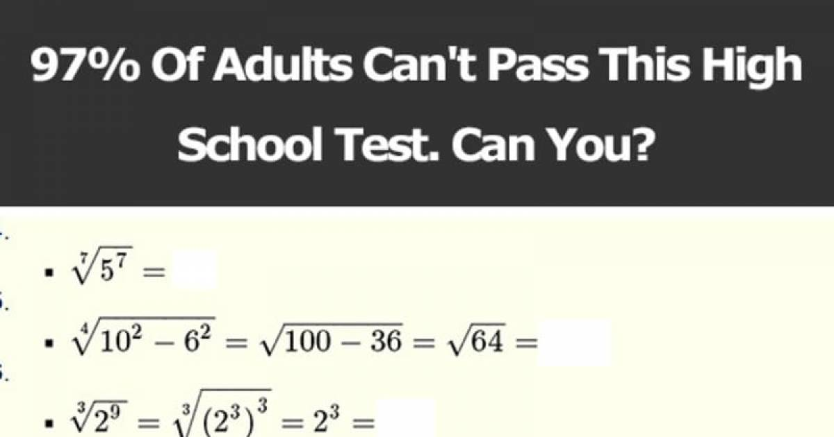 Are You In The 3% That Can You Pass This High School Test?