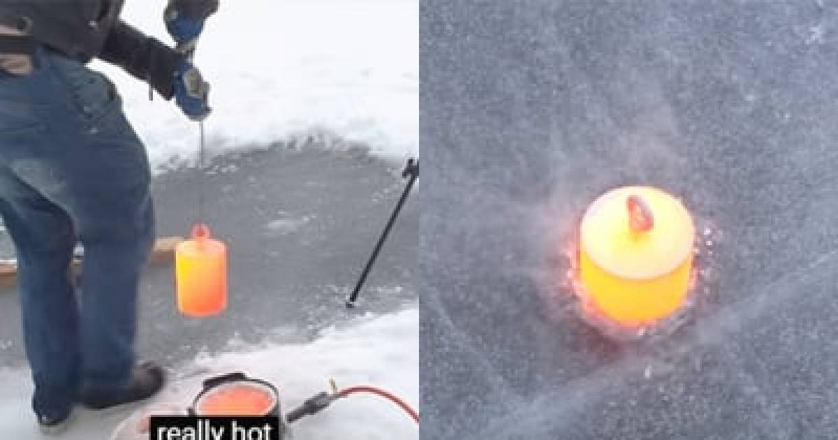 This Is What Happens When You Drop 20kg Of Red Hot Steel Onto A Frozen Lake