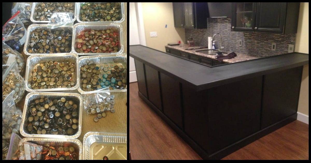This Man Collected Bottle Caps For Over 5 Years, Then He Used Them To Redo His Kitchen