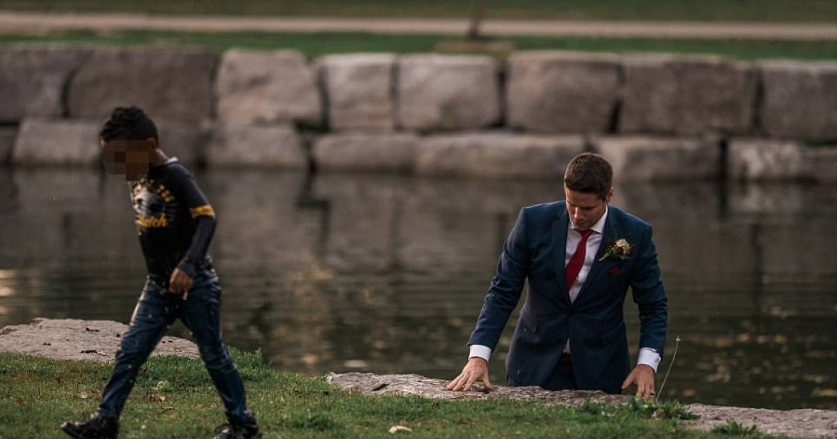 Groom Jumps In Water In The Mid Of Photoshoot To Save A Boy From Drowning