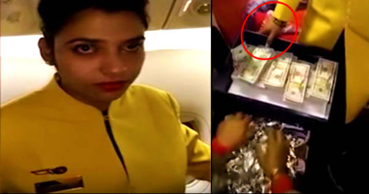 Air Hostess Caught With $500,000 Cash Stuffed Under Her Shoes And Makeup.