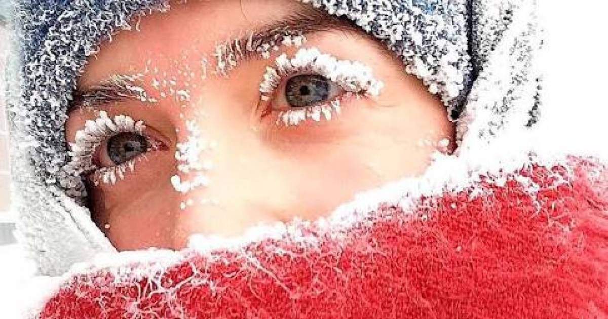 The Temperature Has Dropped To -67°C In Russia Causing People's Eyelashes To Freeze!