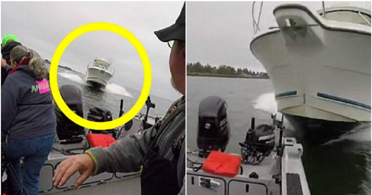 Fishermen Dive Into River Moments Before Huge Speedboat Smashes Into Their Vessel