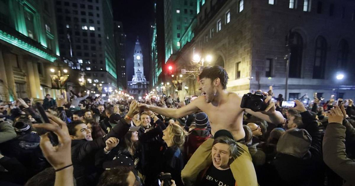 Riots Take Place As Philadephia Eagles Fans Hit The Streets To Celebrate Shocking Super Bowl Victory