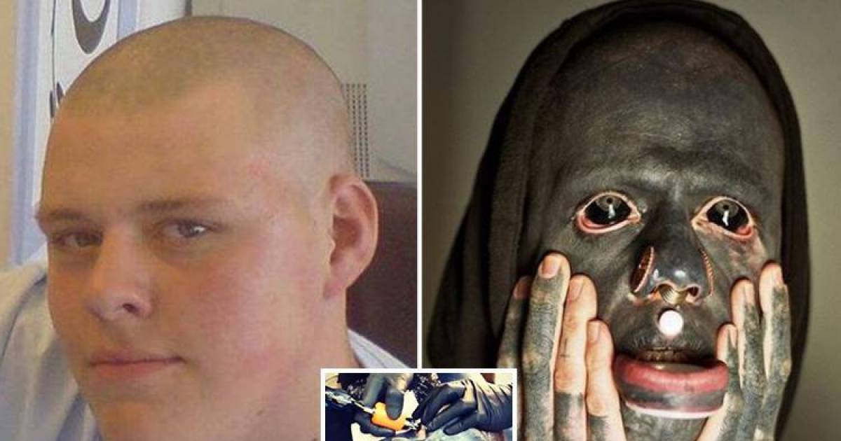 Tattoo Artist Paints His Entire Body Black Including His Eyeballs And Mouth