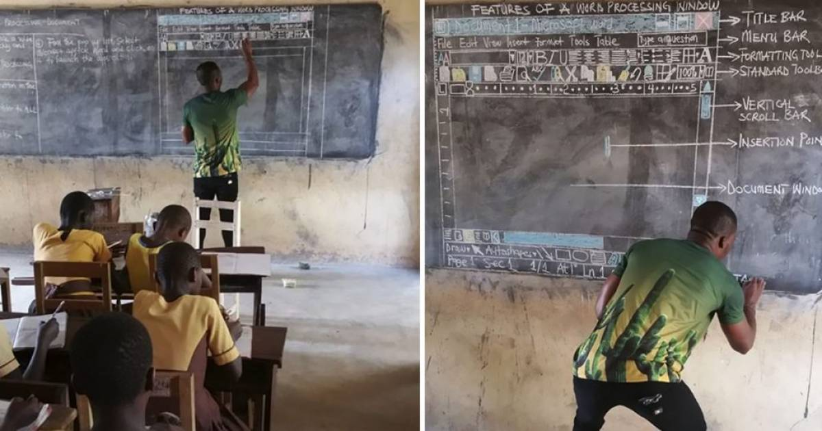 Students Don't Have Computer To Learn ICT, Ghanaian Teacher Draws Microsoft Word To Teach Them
