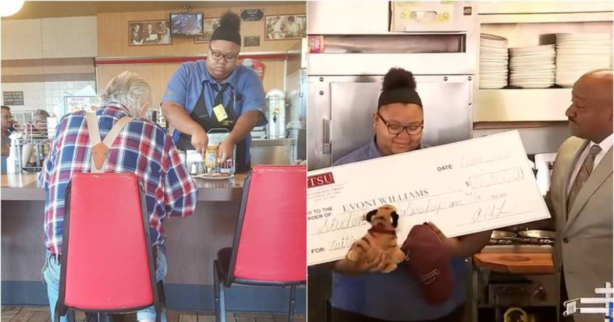 Teen Waitress Gets A $16,000 College Scholarship After Being Seen Helping An Elderly Man Cut His Food