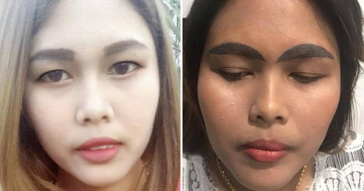 Woman Leaves With Horrific Dark Black Slug-Like Eyebrows After Brow Tattoo Went Horribly Wrong