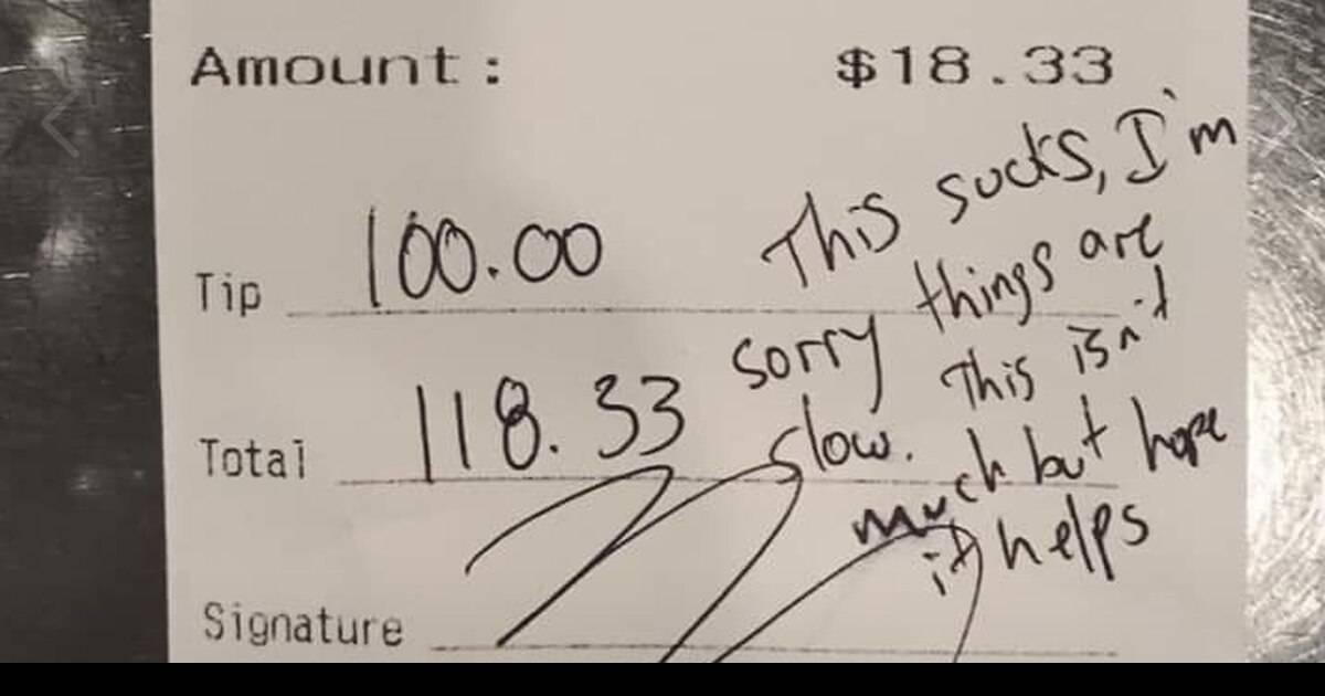 Customer Leaves A Generous Tip For Bartender As Coronavirus Affects Restaurant Businesses