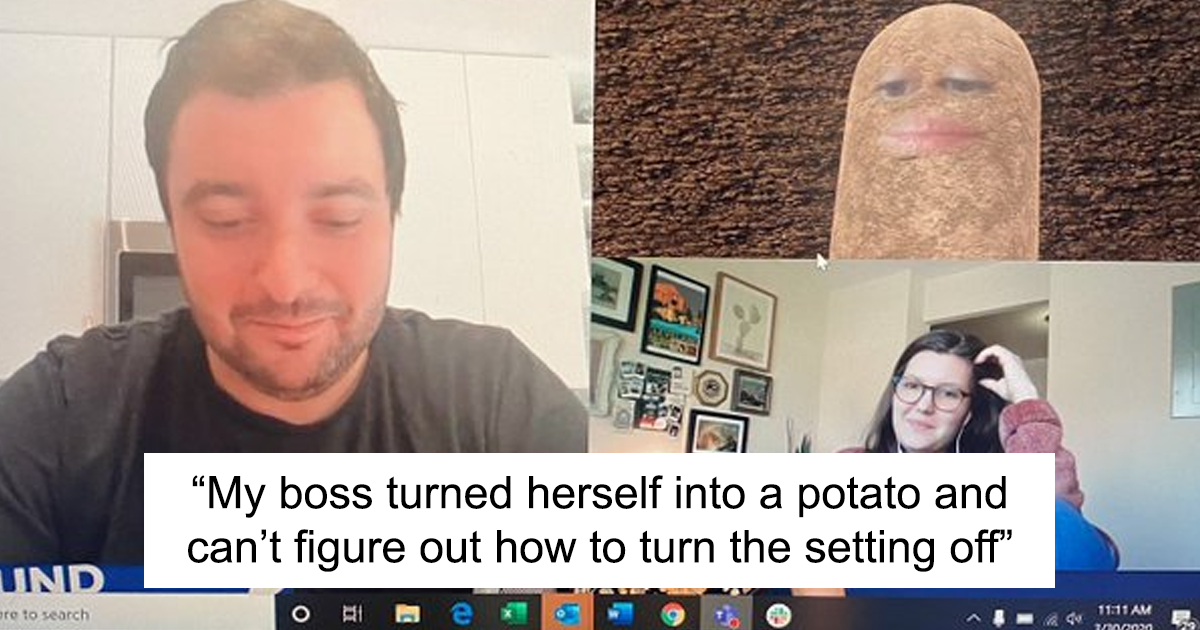 Boss Mistakenly Turns On The Potato Filter During Home-Based Video Conference Call Meeting, Conducts The Whole Meeting Talking Like A Potato