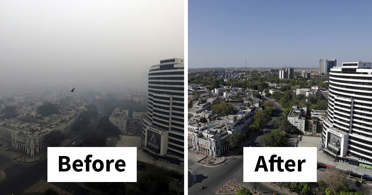 Comparison Pictures From Around The World That Shows The Drastic Impact Quarantine Had On The Environment
