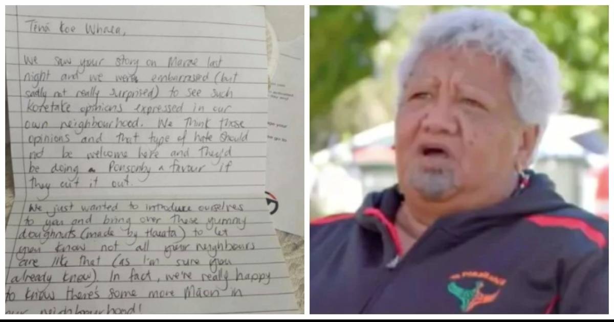 In A Racist Attack, Auckland Neighbor Sends Māori Woman Note Saying She Is 'Not Welcome' In Area