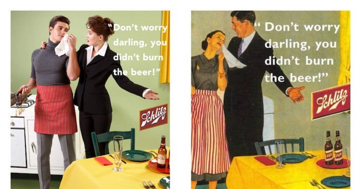 8 Sexist Vintage Ads Reimagined With Reversed Gender Roles