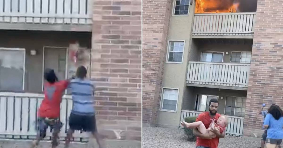 Ex-Football Player Catches Toddler Thrown From The Balcony During A Fire Outbreak