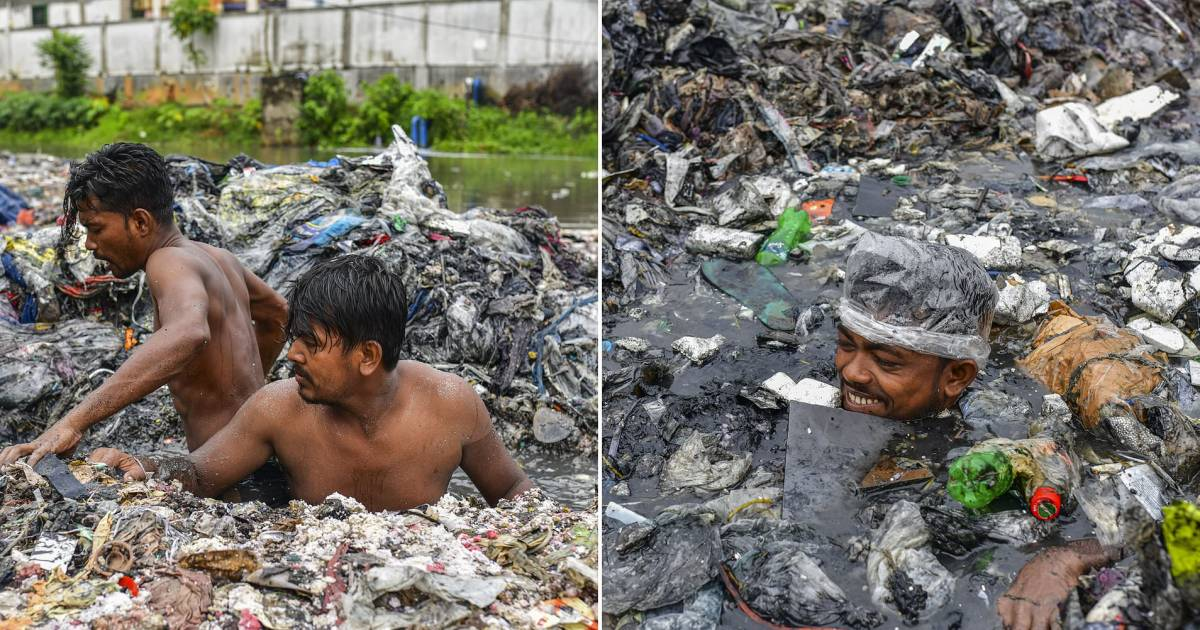 Bangladesh Street Cleaners Wear Only Plastic Bags As Part Of PPE While Swimming Up To Their Necks In Heaps Of Rubbish