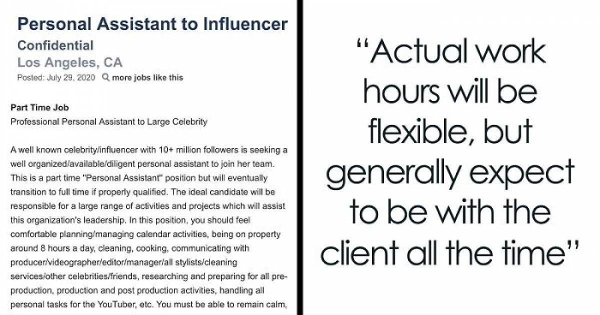 People Are Slamming This Bizarre Personal Assistant Job AD Posted By A Famous LA Influencer