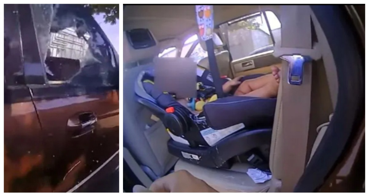 Police rescue crying baby who was covered in vomit and locked inside a 120F hot car
