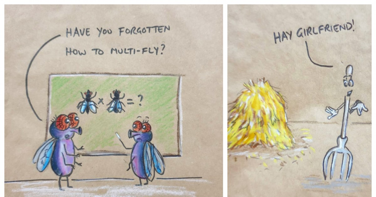 Sassy Daddy Drawing Dad Jokes And Puns On His Daughter's Lunch Bags Every day For The Past 8 Years