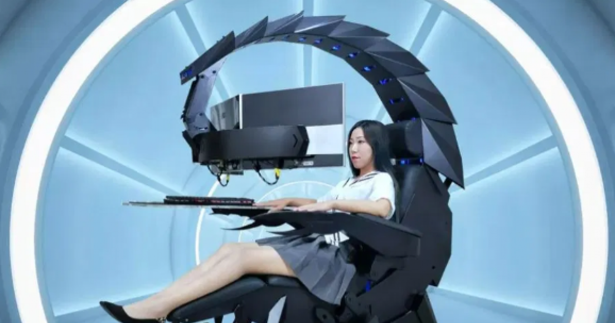This SCORPION shaped giant robotic gaming chair that also 'cocoons and massages' can be yours in just $3,299