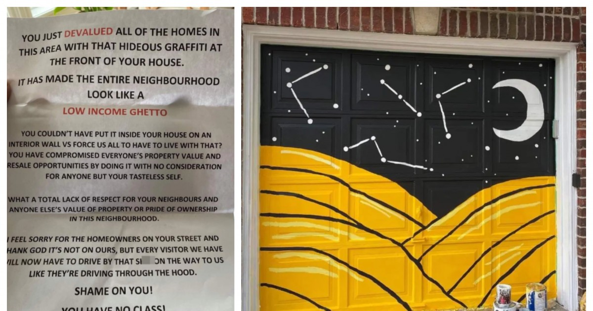 Woman accused of 'devaluing' other homes and turning the road into 'low-income ghetto' after she painted her garage door yellow