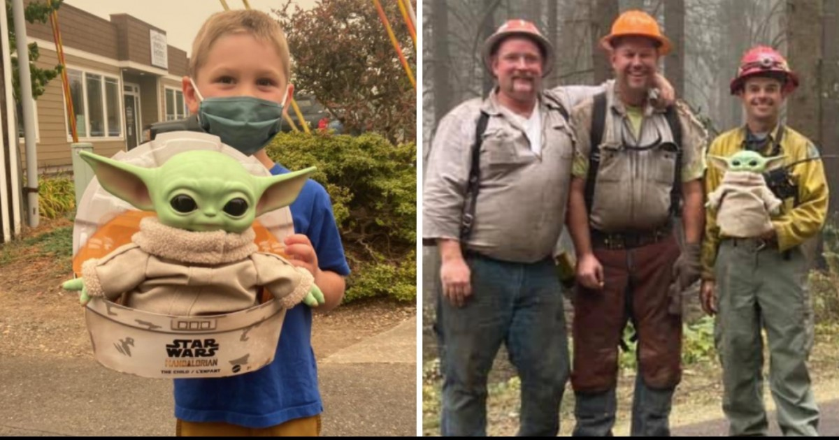 5-Year Old Kid Sends Baby Yoda Mascot To California Firefighters To Keep Them Company