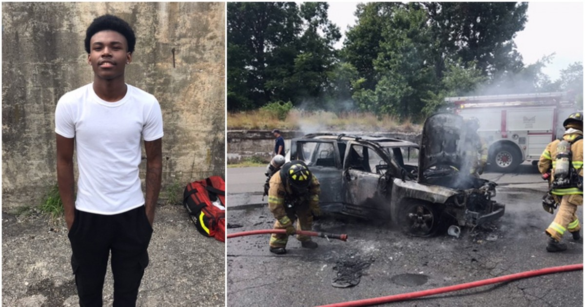 Teenager Pulls Mom and Three Kids Out From A Running Burning Car