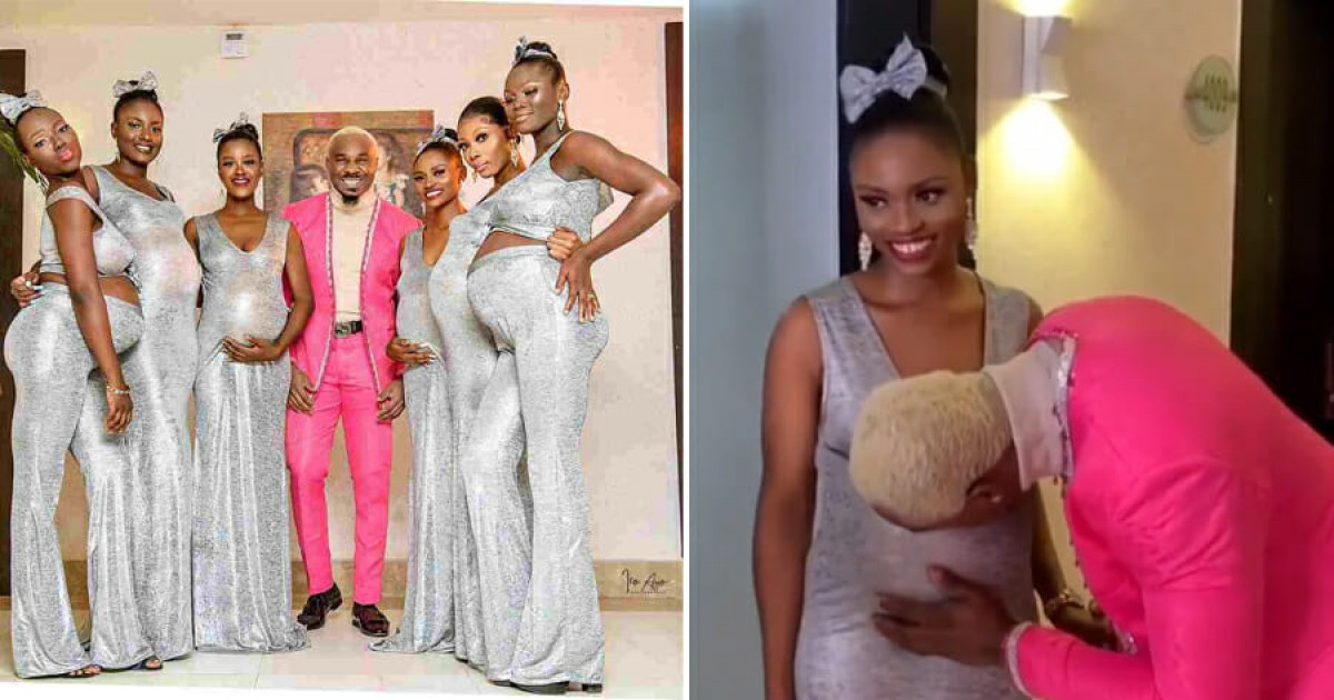 Living His Best Life, Nigerian Playboy Attends Wedding With Six Pregnant Girlfriends Claiming All of Them Are Carrying His Child