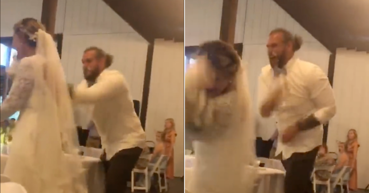 People Are Finding It Uncomfortable Seeing A Groom Chucking An Entire Cake At His New Bride In A Viral TikTok Video