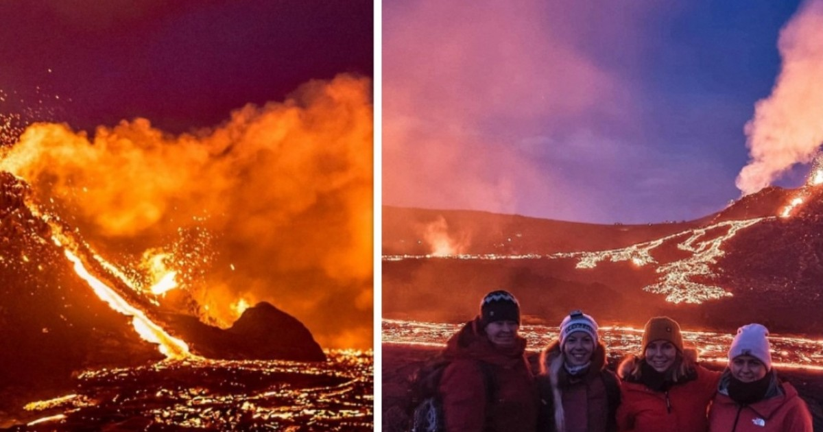 Volcano Tourists In Iceland Flock To First Eruption In 6,000 Years As Lava Spews 300ft Into The Air
