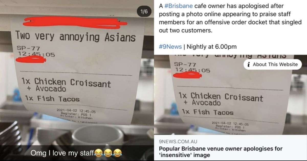 """Restaurant Faces Criticism For Receipt Describing Customers As """"Two Very Annoying Asians"""""""