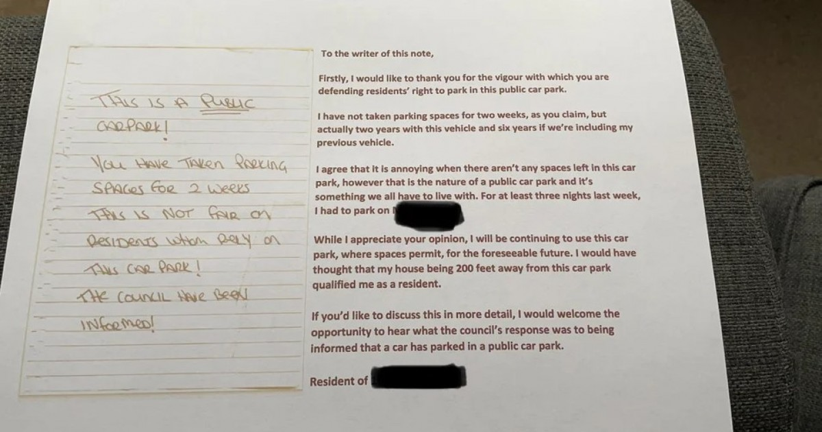 Neighbour's Befitting Response To An Angry Parking Note Is Next Level