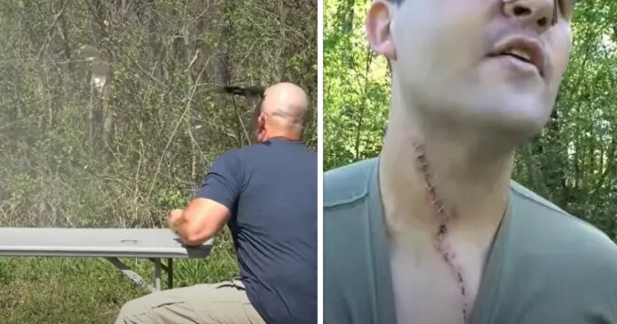 Man's Rifle Explodes In His Face And Sends An Inch-Long Shrapnel Into His Neck