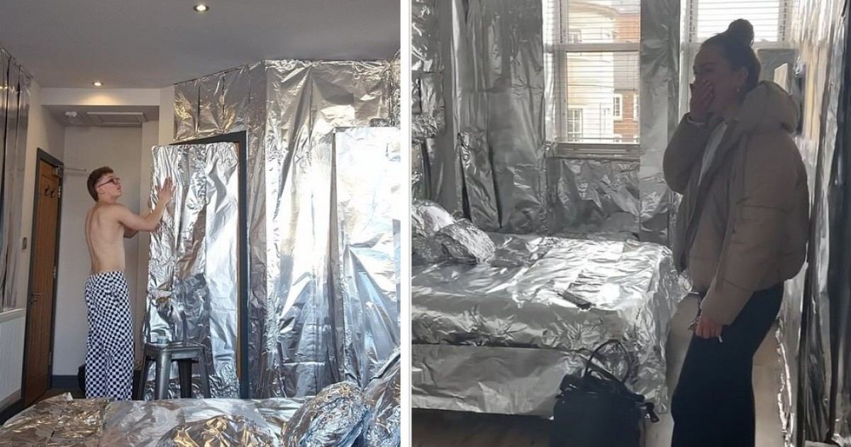 Student Gets Revenge On His Housemate For Stealing Mattress By Covering Room In 360m Of Tin Foil