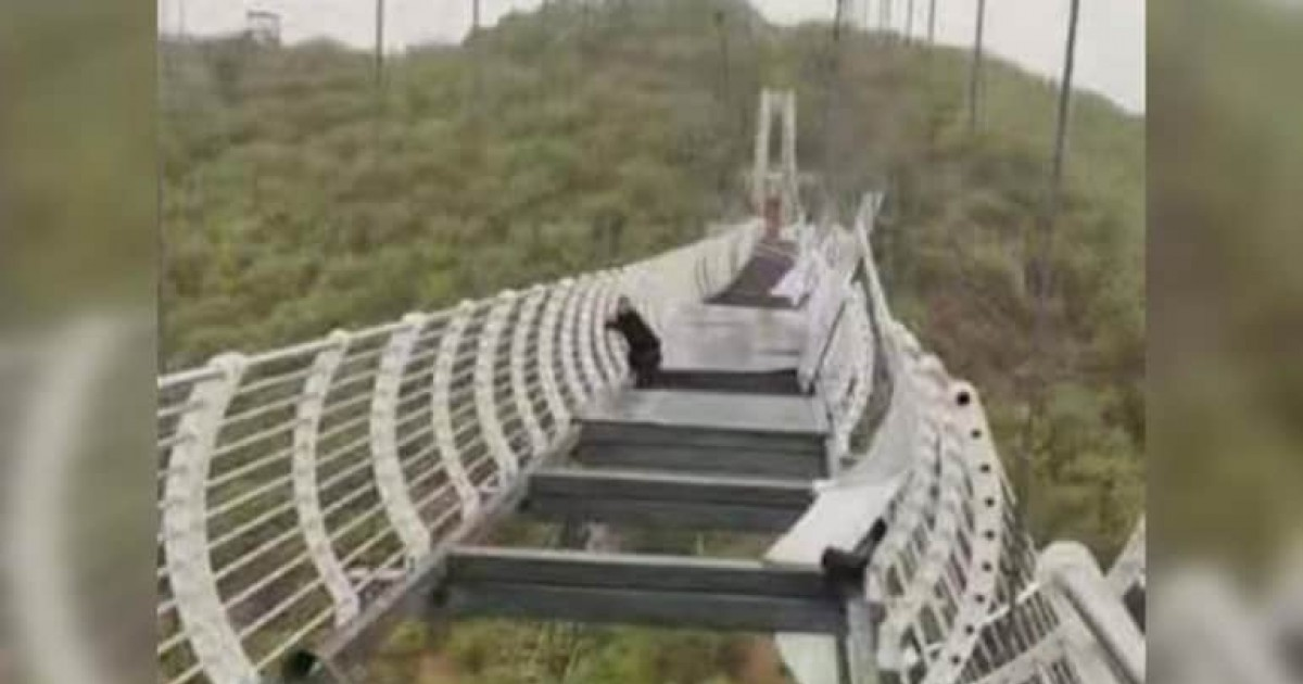 Man Left Dangling 330ft Mid Air As Glass Bridge In China Is Damaged By Strong Winds
