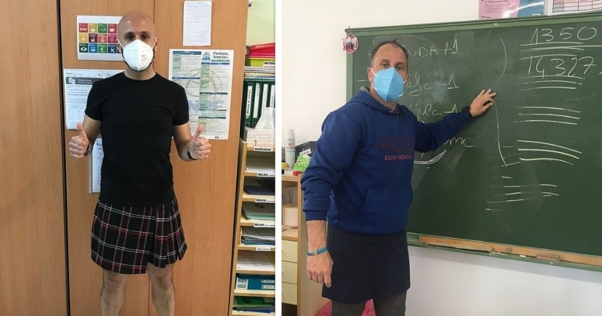 Male Teachers Turn Up In SKIRTS Across Spain To Support Boy Who Was Expelled For Wearing A Skirt
