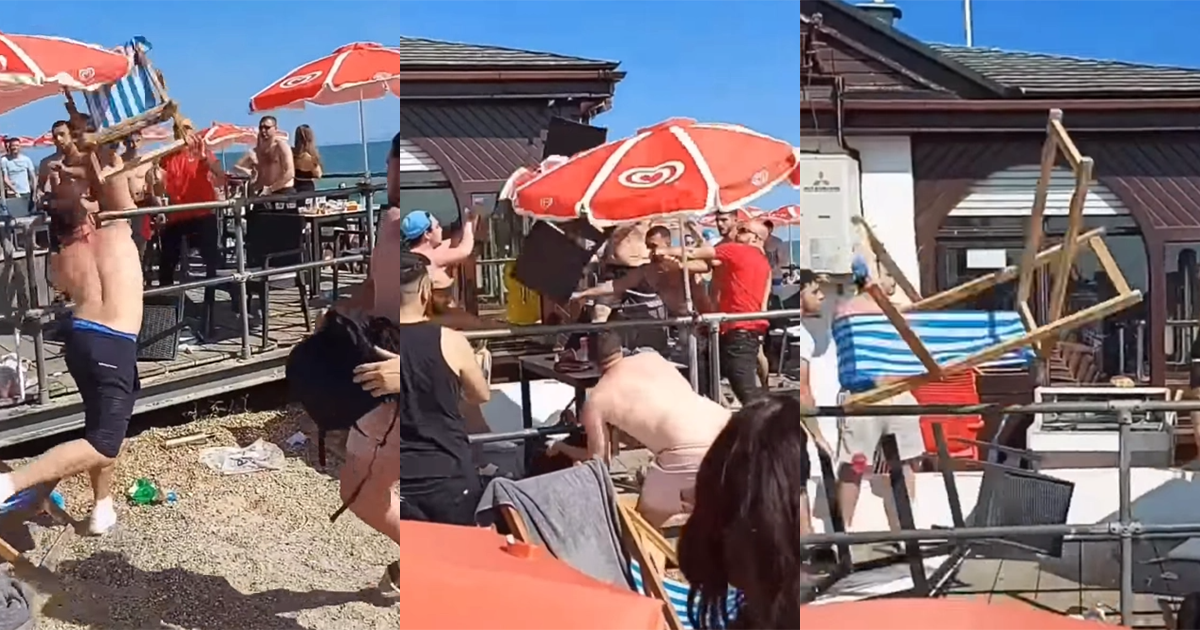 These Drunken British Lads Threw Deck Chairs At Each Other At Seaside Brawl